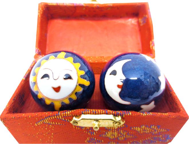 Boules de massage bleues lune & soleil 4.5cm