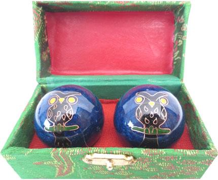 Boules de massage hibou bleu 4.5cm