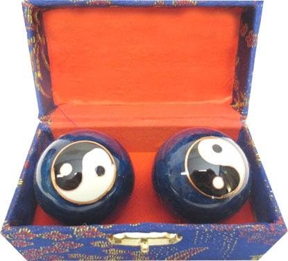 Boules de massage bleues ying yang 4.5cm