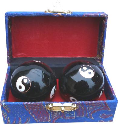 Boules de massage noirs ying yang 4.5cm