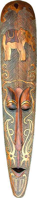 MASK ELEPHANT STYLE METAL OR 100cm