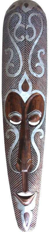 MASK TRIBAL STYLE METAL ARGENT 100cm