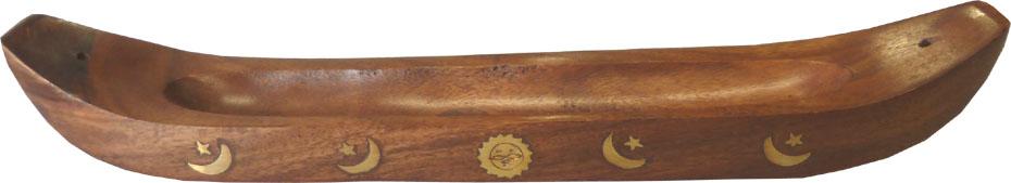 Porte encens en bois pirogue 35cm