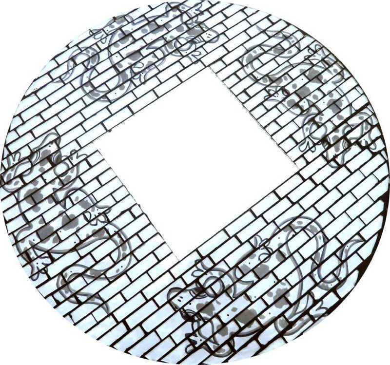 Miroir Gecko Mosaique Rond 40cm