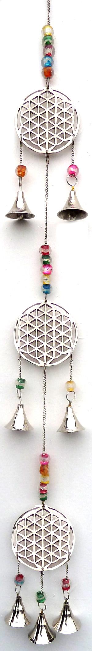 Carillon Fiore della vita e campane di chakra 70 cm