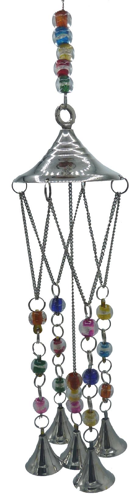 Carillon cuivre blanc cloches & perles 38cm