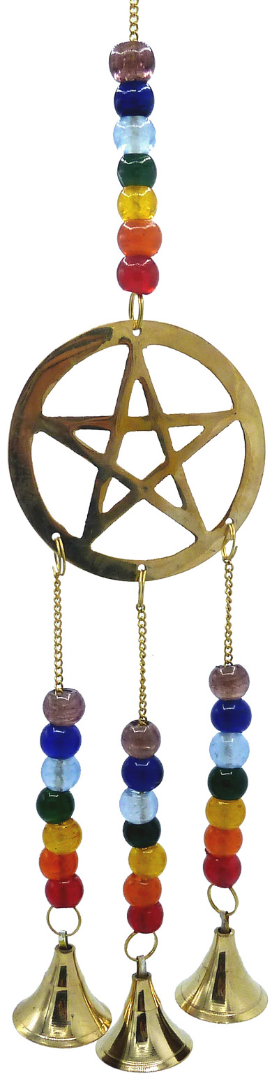 Carillon pentagramme & cloches chakra 32cm