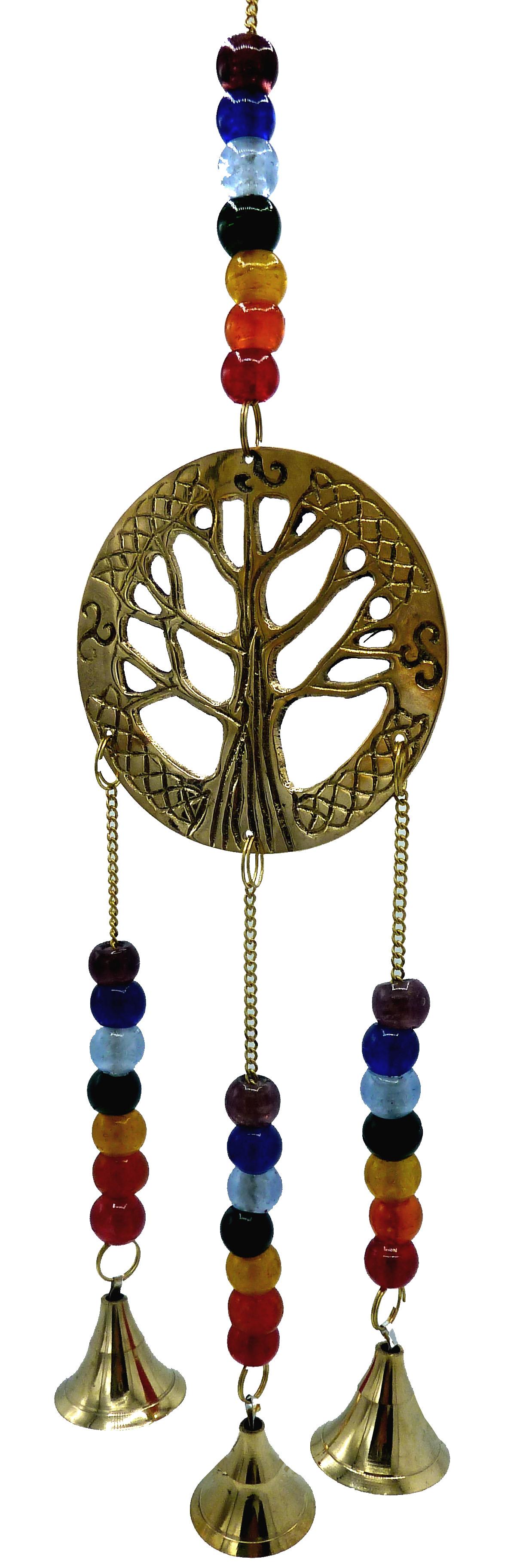 Carillon cuivre arbre de vie perles & cloches 36cm