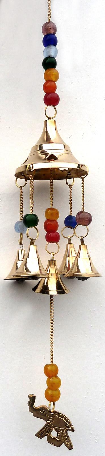 Carillon cuivre éléphant cloche & perles 38cm