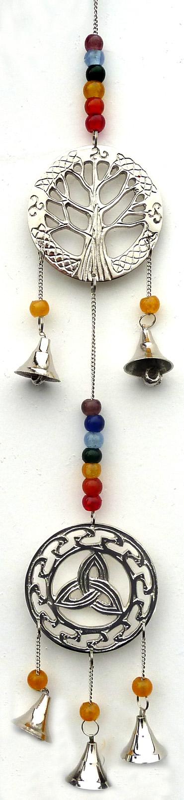 Carillon cuivre arbre de vie triskell cloche & perles 53cm