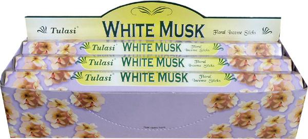Encens tulasi sarathi musk blanc hexa 20g