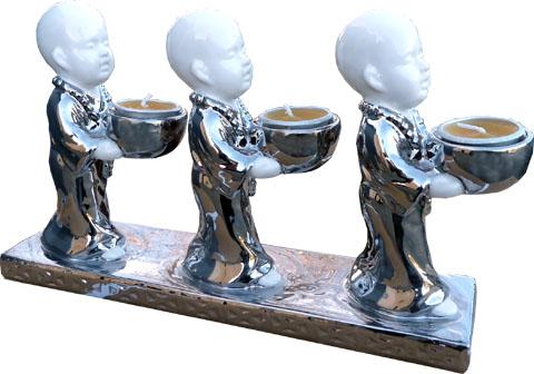 Bougeoir 3 moines debout céramique 27cm