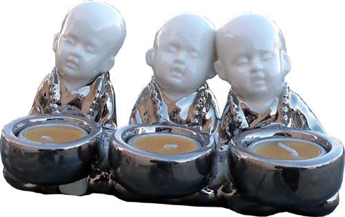 Bougeoir 3 moines assis céramique 20cm