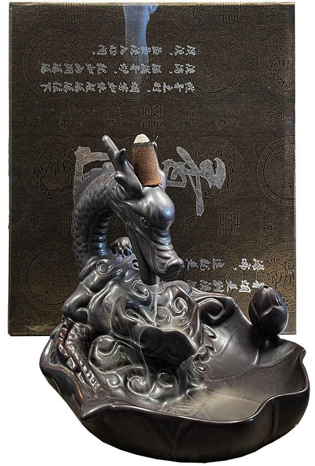 Incense holder backflow terracotta Dragon 15cm