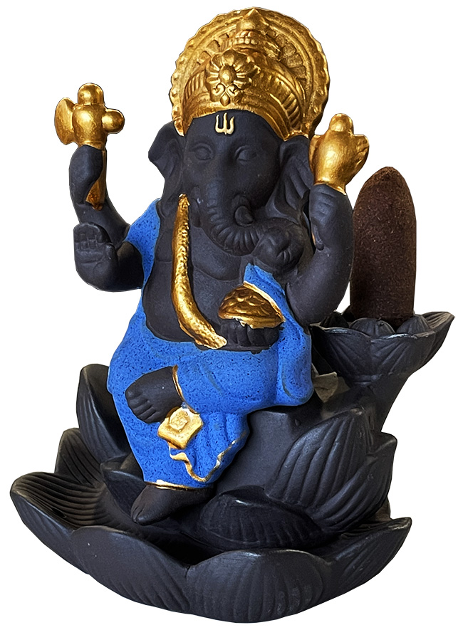 Porte encens backflow terre cuite Ganesh bleu sur Lotus 12cm