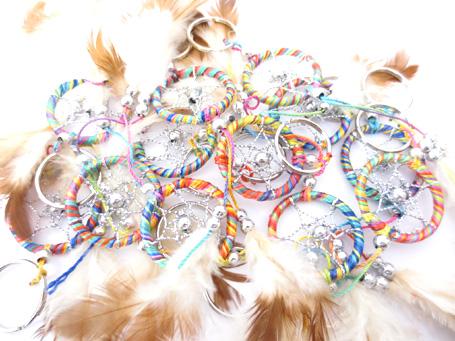 Porte clé dreamcatcher coloré perles 3cm x12