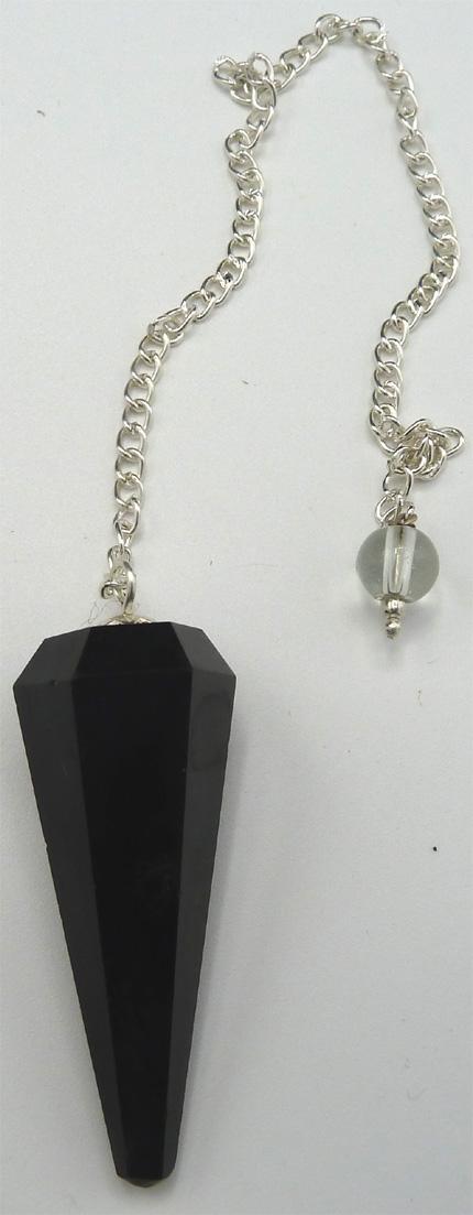 Pendule obsidienne noire 6 faces
