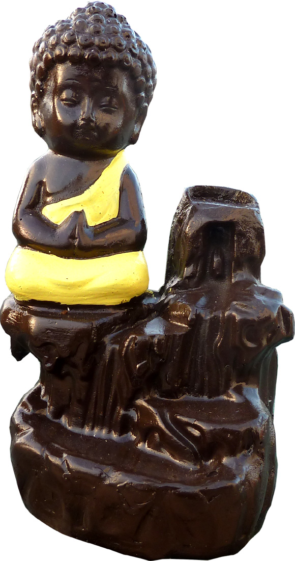 Porte encens backflow moine meditation jaune