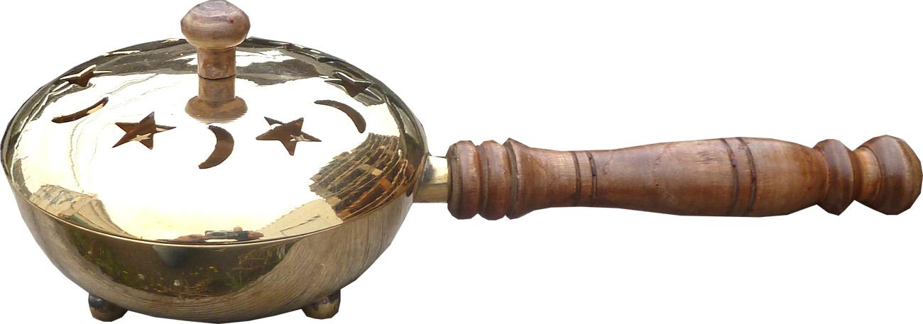 Brûleur résine cuivre poële avec manche 25cm