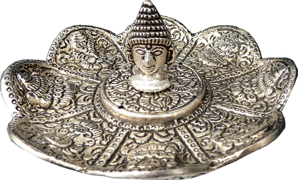 Porte encens lotus métal bouddha ciselé 11cm