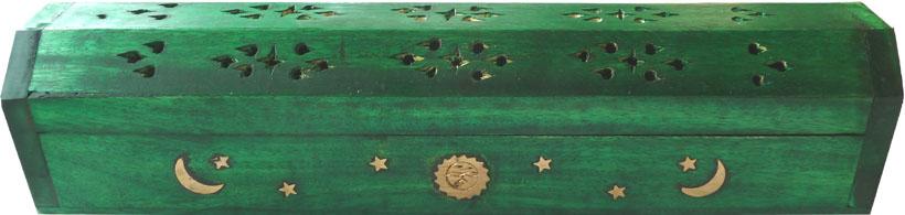 Porte encens hut en bois vert foncé lune & soleil 30cm