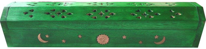 Porte encens hut en bois vert clair lune & soleil 30cm