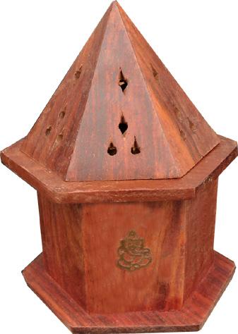 Porte encens cones tour octogonale en bois ganesh avec reserve