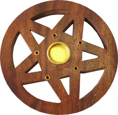 Porte encens en bois rond ciselé pentacle 10cm