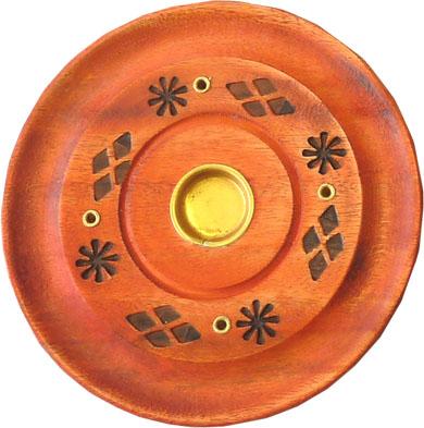 Porte encens rond en bois couleur 10cm x4