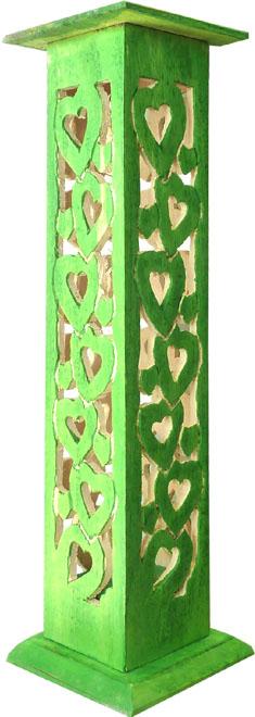 Porte encens tour carré en bois vert ciselé motif coeur 30cm