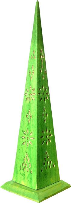Porte encens tour pointue en bois vert clair 30cm