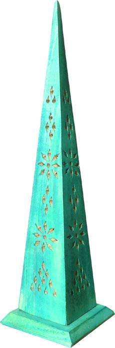 Porte encens tour pointue en bois bleu clair 30cm