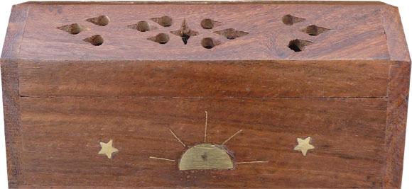 Porte encens en bois coffre soleil 13cm