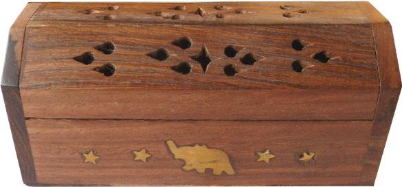 Porte encens en bois coffre elephant 13cm