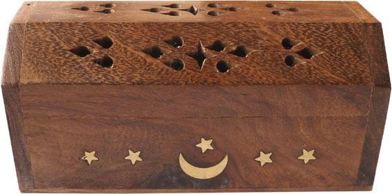 Porte encens en bois coffre lune 13cm