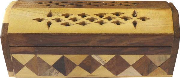 Porte encens hut en bois marqueterie losanges 15cm