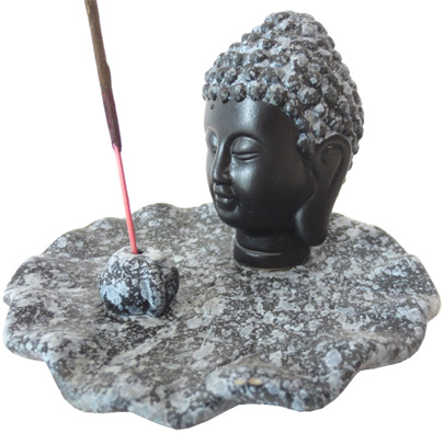 Testa porta incenso di Buddha grigio 12cm