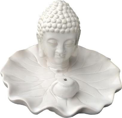 Porta incenso con testa di buddha bianca