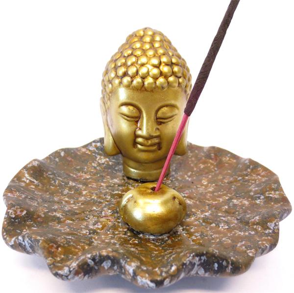 Porte encens tete de bouddha doré base marron 13cm