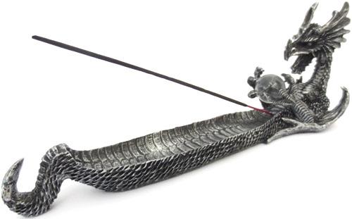 Porte encens dragon résine argent 32cm