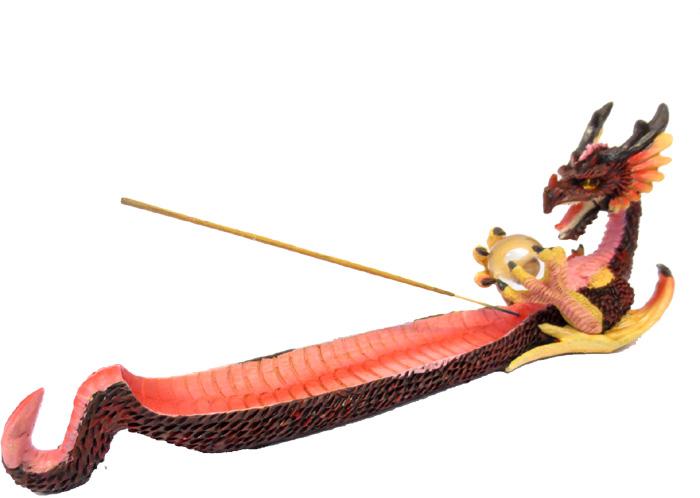 Porta incenso in resina drago 32cm