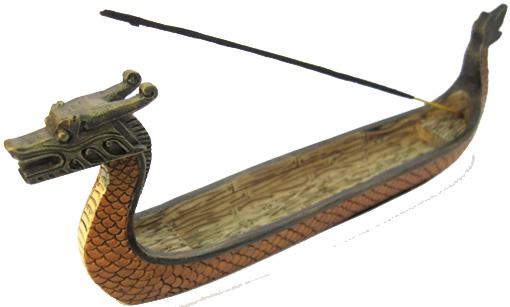 Porte encens bateau dragon noir 22cm
