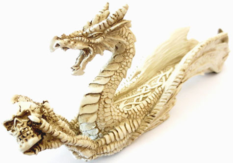 Porte encens dragon blanc 26cm
