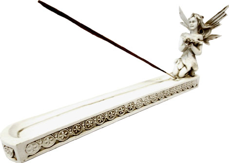 Porte encens resine fée blanc 26cm