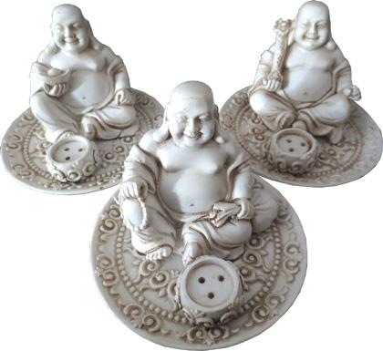Porte encens happy bouddha blanc x3 9cm