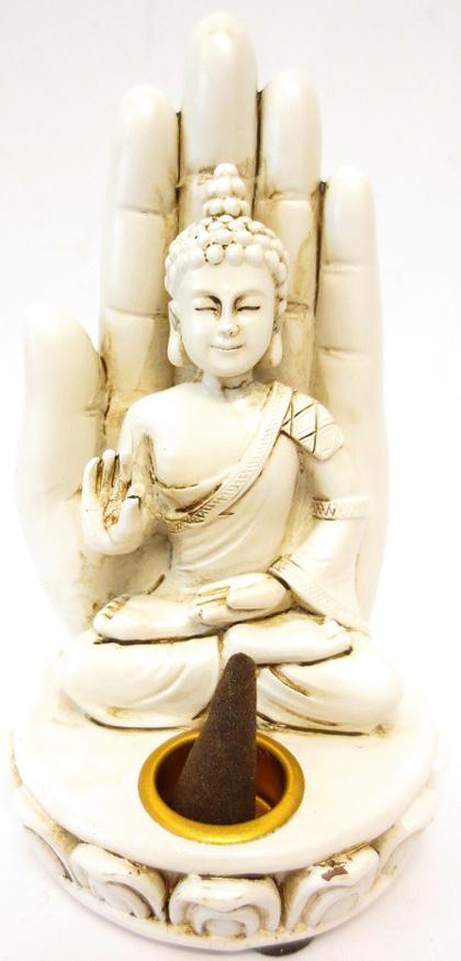 Porte encens bouddha blanc assis sur main 13cm