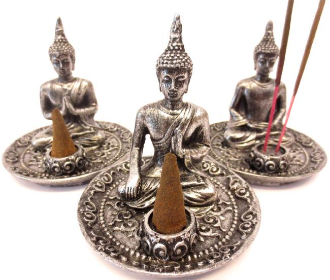 Porte encens bouddha tibetain argenté x3 9cm