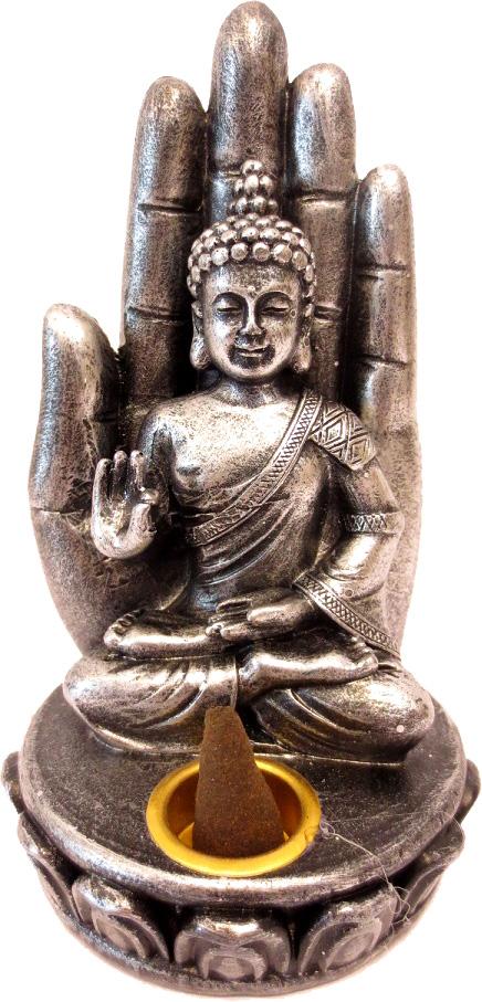 Porte encens bouddha argenté assis sur main 13cm