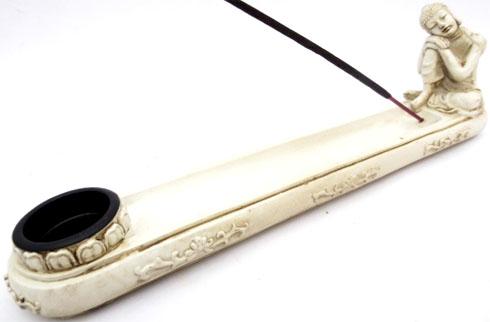 Porte encens bouddha penseur blanc 26cm