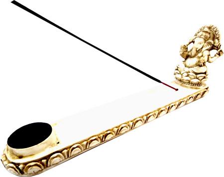 Porta incenso in resina bianca ganesh 26cm